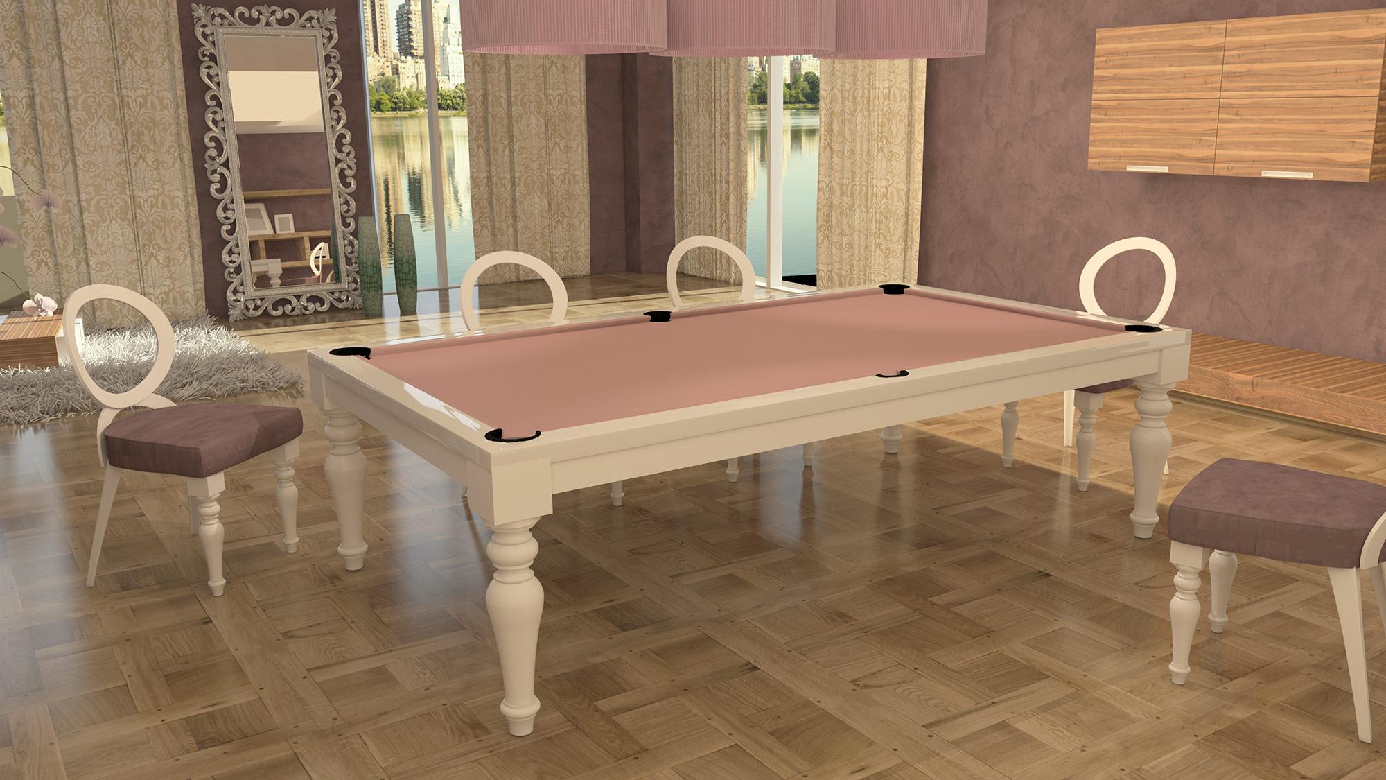 tavolo biliardo italia cinque laccato bianco